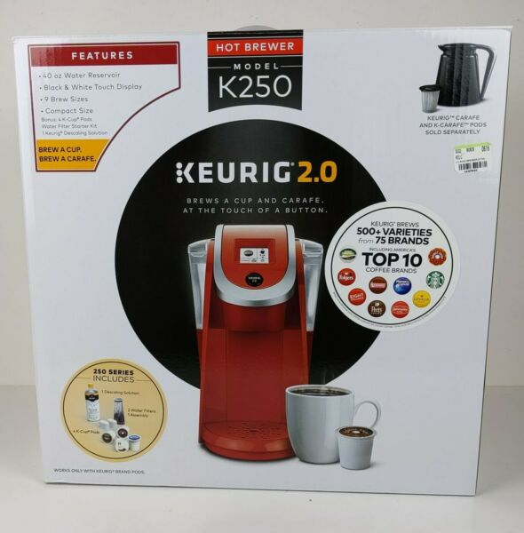 KEURIG HOT K250 K2.0 BREWER RED Single Serve Coffee Maker NIB OLD STOCK