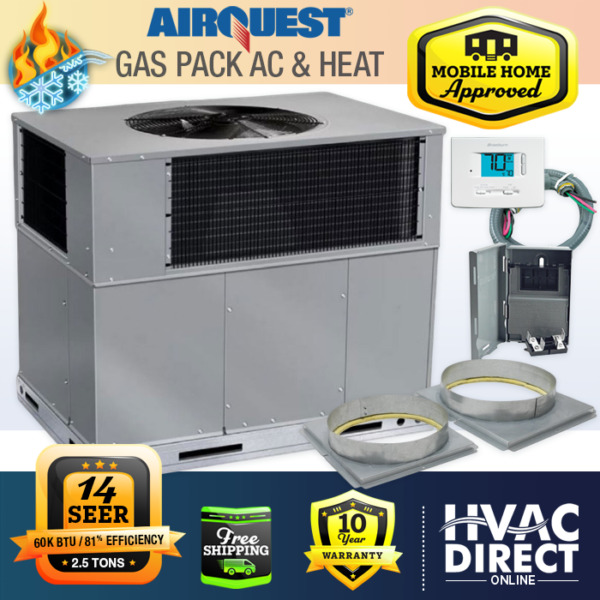 2.5 Ton 14 SEER 60K BTU AirQuest Heil by Carrier Gas Package Unit Install Kit $2670.00
