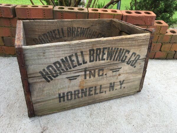 Vintage Wooden Beer Crate Hornell Brewing Company New York 1935 Or 1936 Box