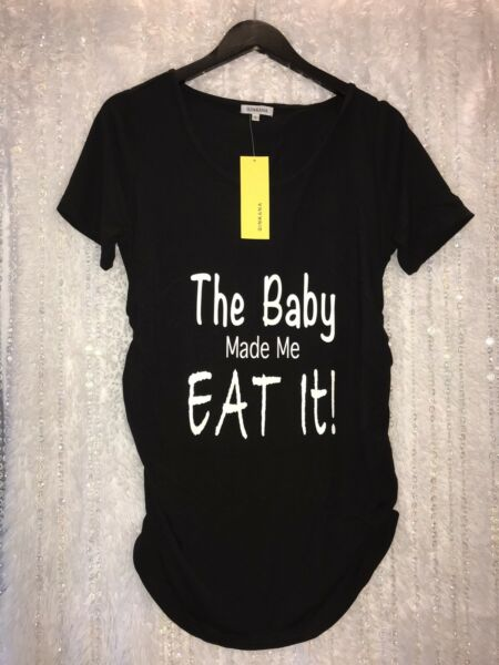 Maternity Funny LARGE T Shirt Black White Ruched Announce Baby Made Me Eat It $19.49