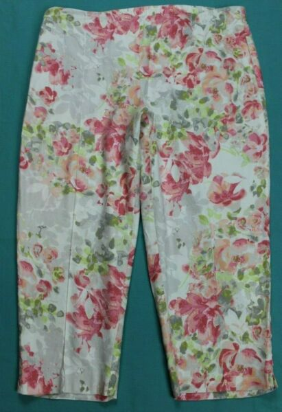 J. Jill Linen Stretch Womens Pull On Crop Floral Pants Size L Petite EUC #16050 $24.99