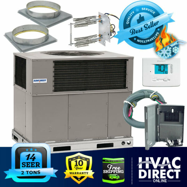 2 Ton 14 SEER AirQuest Heil by Carrier Package AC Heat Pump Unit Install Kit $2605.00
