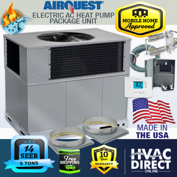 5 Ton 14 SEER AirQuest Heil by Carrier Package AC Heat Pump Unit Install Kit $3608.00