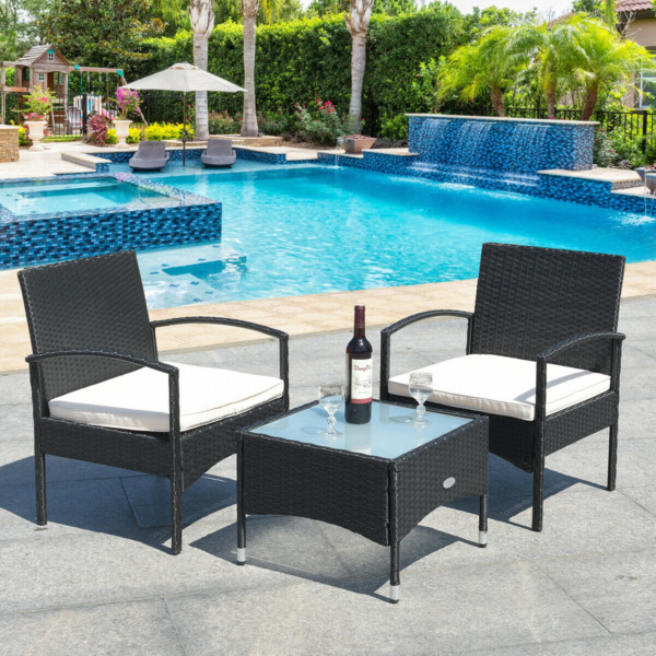 Wicker Bistro Set 3 Piece Outdoor Table amp; Chairs Patio Furniture Sets Clearance