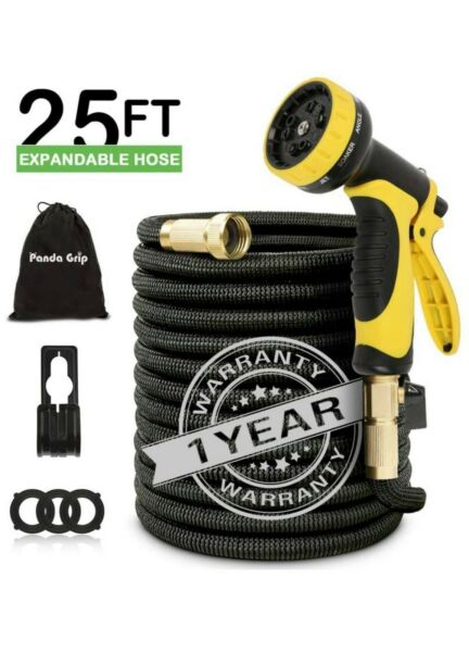 Expandable Garden Hose 25 50 ft with 10 Function Nozzle 3 Times Expanding