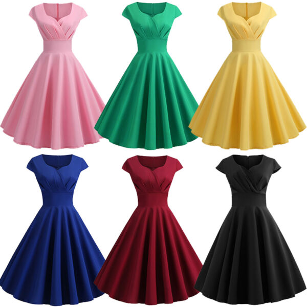 Womens Dresses Party Dresses 1950s Vintage Dresses Swing Stretchy Hepburn Dress