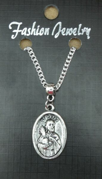 St Peter Pendant Necklace 18quot; or 24 Inch Chain Holy Saint Charm GBP 4.99