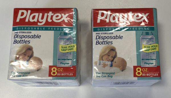 Playtex 80 Disposable Baby Bottle Liners Pre Sterilized 8 oz 240mL NEW 2 Boxes $16.99