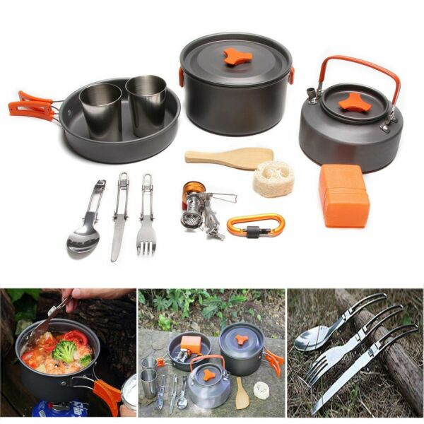 Cookware Mess Kit Outdoor Cooking Set Backpacking Camping Survival With