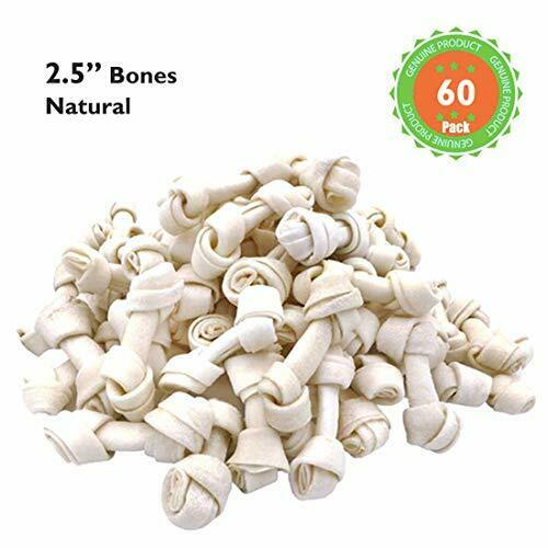 MON2SUN Dog Rawhide Knot Bones 2.5 Inch Natural for Puppy and Small Dog 60 Count $19.99