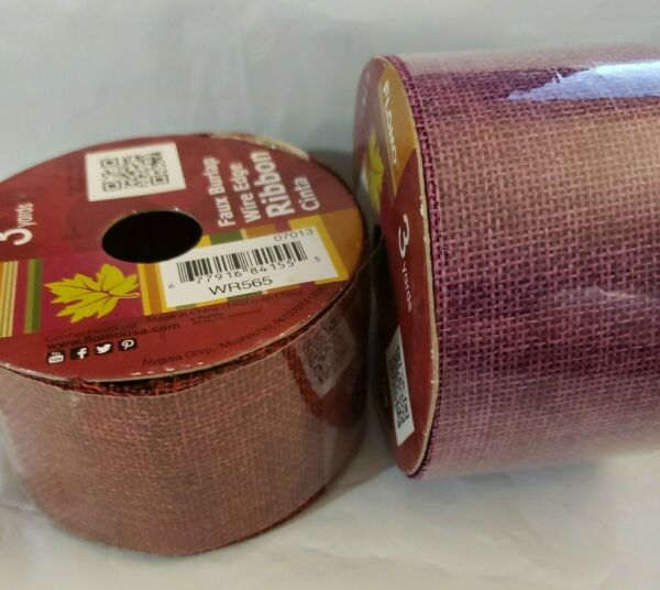 Two Pack Lot of Fall Faux Burlap Ribbon New 18 Feet Total x 2quot; Wide Autumn