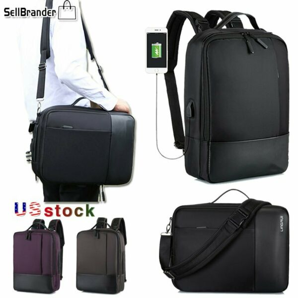 Men 15.6quot; Business Laptop Backpacks Waterproof Travel Bags USB Charging Notebook $15.50