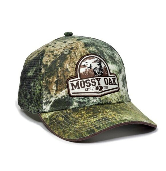 New Mossy Oak Label Patch Logo Mesh Trucker Mens Cap Hat L XL