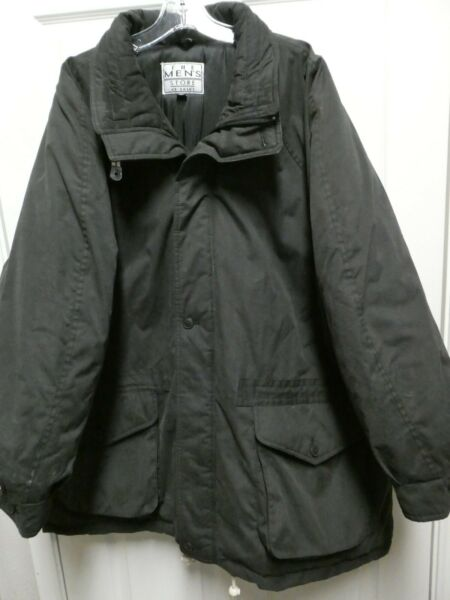 Mens THE MENS STORE SEARS Vintage Black Winter Coat Lined Size XXL