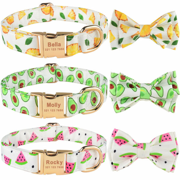 Dog Personalized Collar Cotton Custom Pet ID Name Tag Engraved Heavy Buckle Bow $8.09