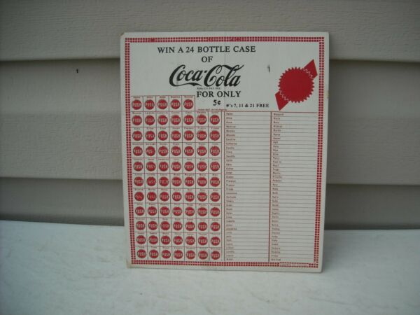 1950#x27;S COCA COLA PUNCH BOARD win a 24 bottle case Lion Mfg