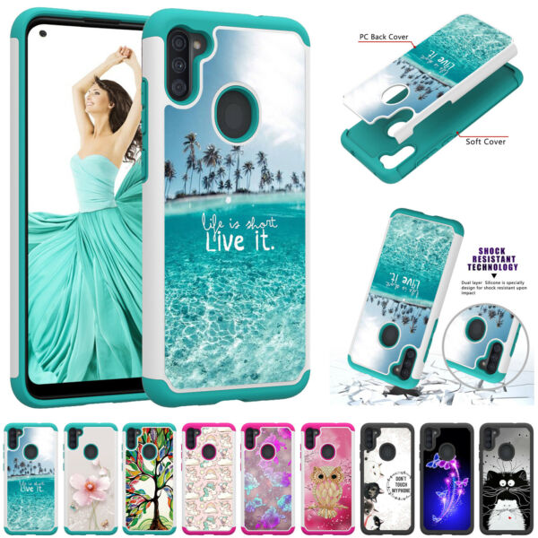 For Samsung A51 A71 A21 A01 A11 Shockproof Hybrid Rubber Hard Pattern Case Cover $8.99