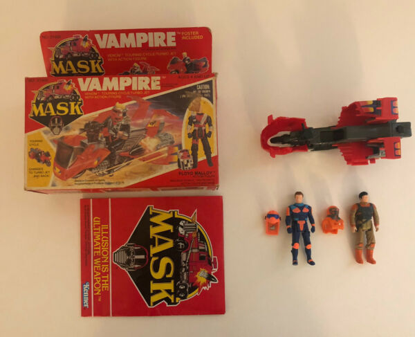 Vintage Kenner M.A.S.K. Vampire Motorcycle incomplete WITH BOX and 2 Figures
