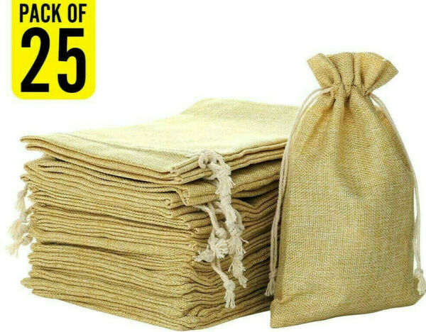 FLAIRYLAND 5quot; X 8quot; Linen Burlap Bags with Jute Drawstring for GiftBags Wedding