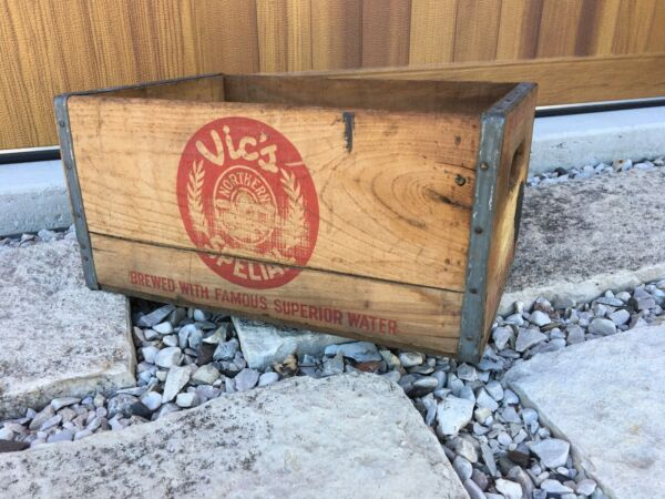 Vintage Wooden Beer Crate Vic's Brewing Superior Wisconsin Northern Brewery Box