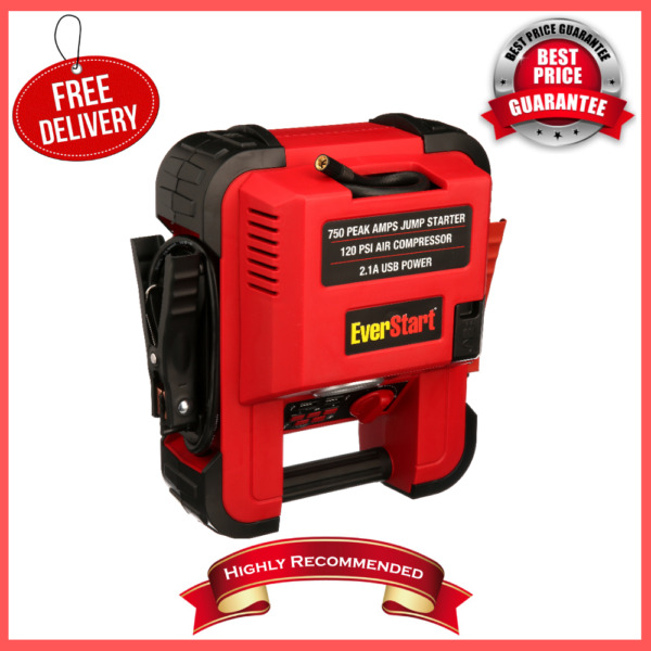 Auto Battery Jump Starter Air Compressor 750 Peak Amps Portable Car SUV Charger $47.55