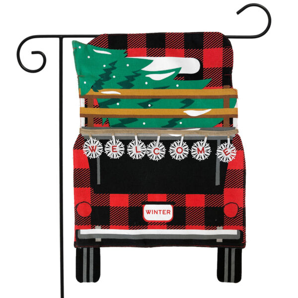Red Checkered Truck Christmas Burlap Garden Flag Holiday Tree 12.5quot; x 18quot;