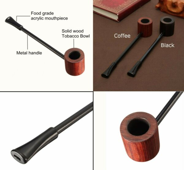 Wood Pipe Smoking Pipes Portable Smoking Pipe Herb Tobacco Classic Look Pipes $5.55