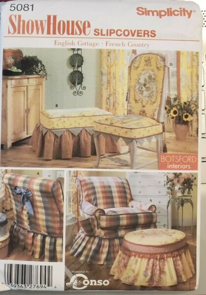 Simplicity ShowHouse pattern 5081 Slipcovers for various Chairs uncut $3.94