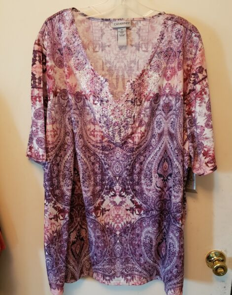 WOMENS PLUS SIZE 4X TOP CATHERINES NWT