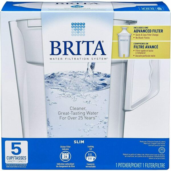 Brita Slim Model Water Filter Pitcher 5 Cup Capacity with Filter