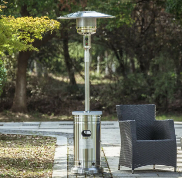 Gas Patio Heater 48000 BTU Stainless Steel Propane Garden Treasure With Wheels