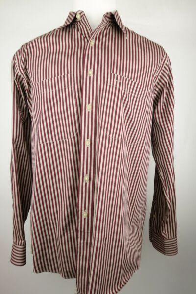 Vintage Burberry Shirt Stripe Men Size L Made In The USA 1990#x27;s Button Down $54.97