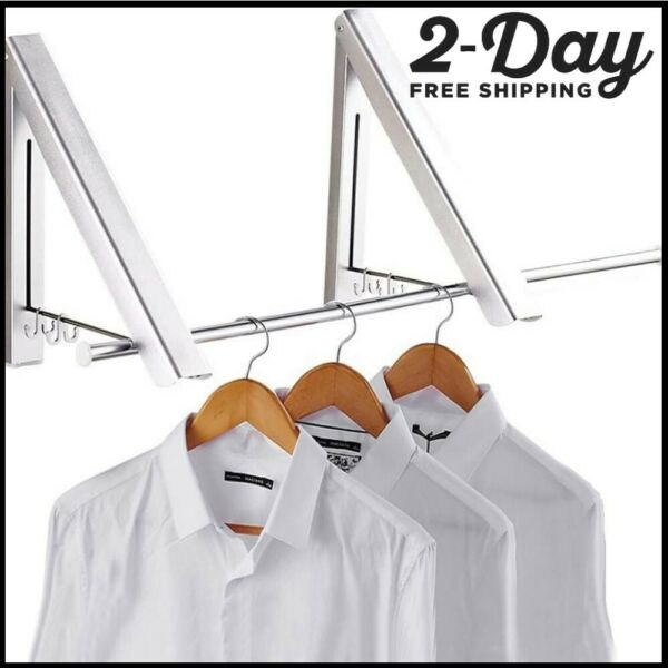 Folding Clothes Hanger Retractable Wall Mounted Drying Rack Home Indoor HolderUS $29.99