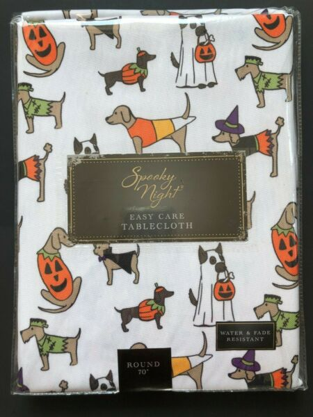 NEW Halloween Dogs Dachshund LabChihuahua 70quot; Round Tablecloth $15.00
