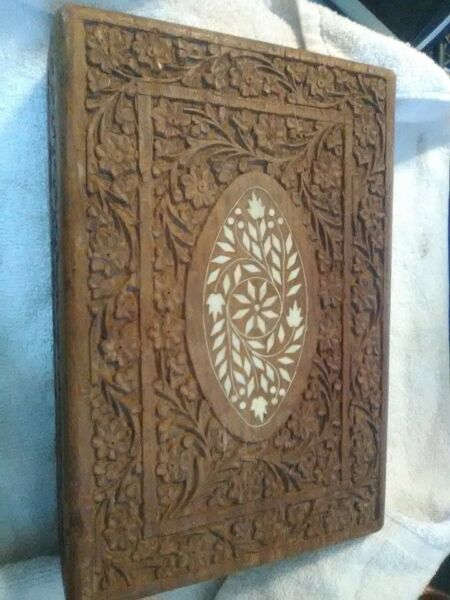 Vintage Jewelry Trinket divided Wooden large Box Hand Carved Wood Inlay
