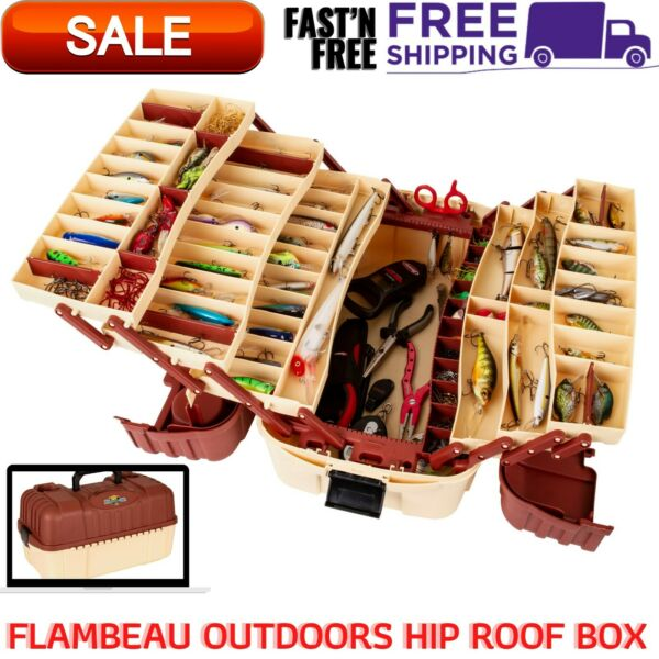Outdoor Large Fishing Tackle Box 7 Tray Plano Lures Hip Roof Organizer Hooks $30.20
