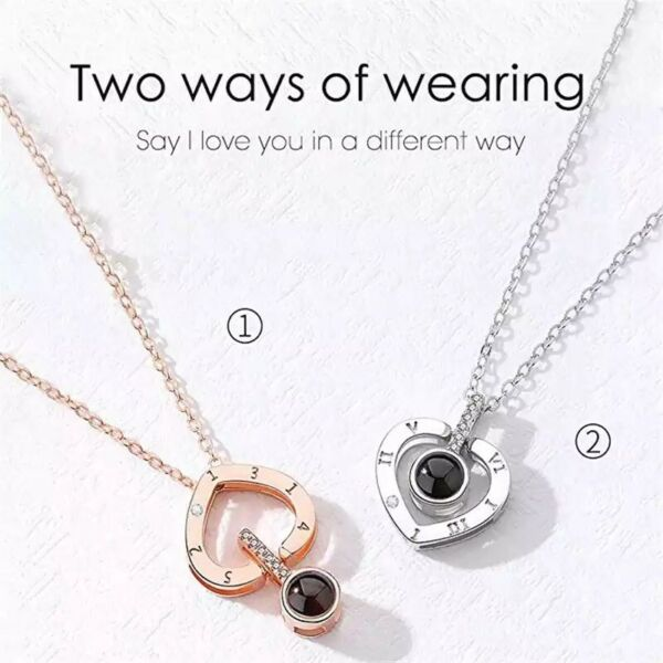 I LOVE YOU In 100 languages Projection heart shape Necklace For Memory Of LOVE $5.99