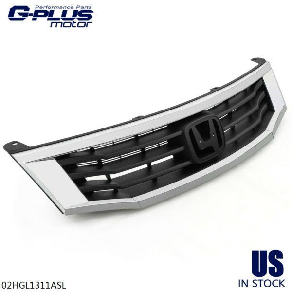 For 2008 2010 Honda Accord Sedan ABS Front Bumper Upper Grille w Chrome Trim