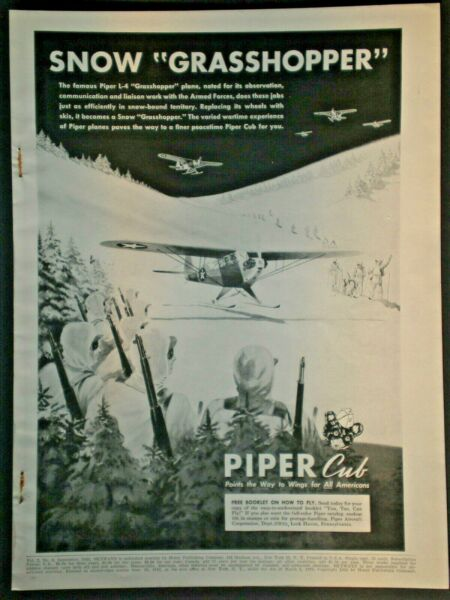 1943 PIPER CUB SNOW GRASSHOPPER PLANE SKIING SOLDIER WWII vintage Trade print ad