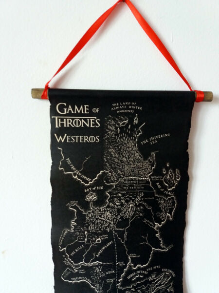 Game of Thrones Black Map Scroll Westeros Map GoT Map Poster on Handmade Scroll