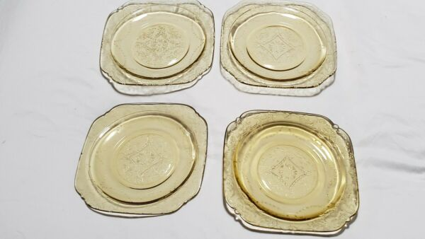 Vintage Set of 4 Federal Amber Madrid Depression Glass 6quot; Bread amp; Butter Plates