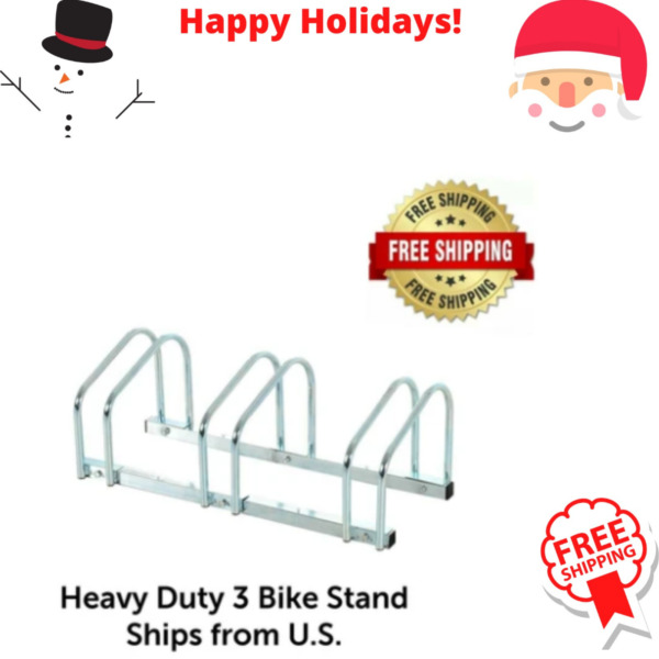 3 Bike Floor Bike Stand Silver Bicycle Rack Stand Parking Mounted Holder $35.99