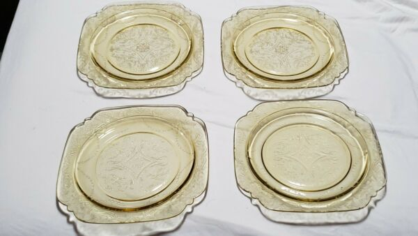 Vintage Set of 4 Federal Amber Madrid Depression Glass 9quot; Salad Plates