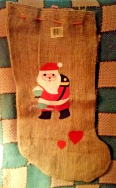 5 Christmas Stockings Burlap Material w Felt 3 Santas amp; 2 Teddy Bears Lg. 24quot;