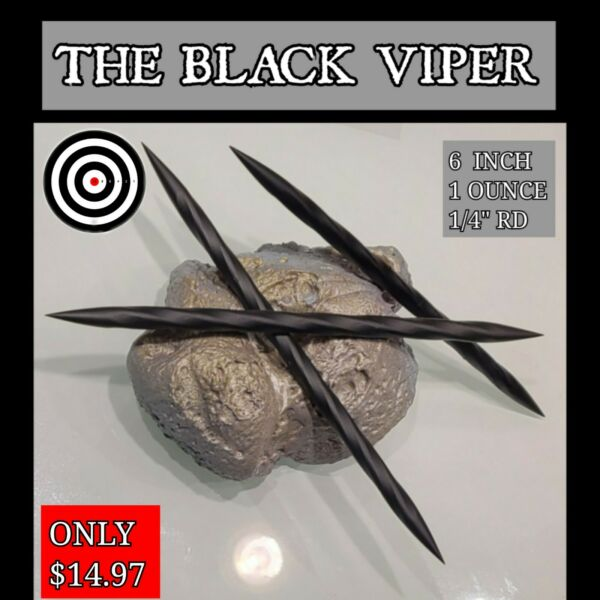 3 quot;THE BLACK VIPERquot; RAZOR SHARP BLACK STEEL NINJA DOUBLE TIP THROWING SPIKE