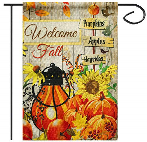 Sweego Fall Garden Flag Halloween Welcome 12 x 18 Inch Double Sided Burlap Flags