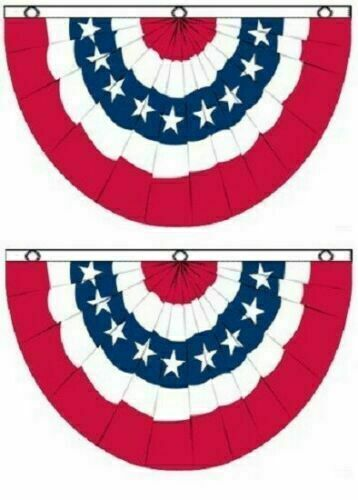 2 PACK 3x5 ft American USA Bunting Flag Fan Parade Banner 5X3 FAN