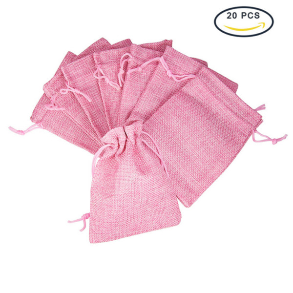 40x Wedding Hessian Burlap Linen Jute Favour Gift Bags Drawstring Jewelry Pouch