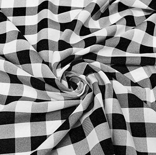 60quot; Wide Checkered Gingham Buffalo Check Polyester Poplin Fabric by the yard