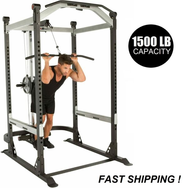 Olympic Squat Rack Power Cage w LAT PULLDOWN Pullup Bar Dip Stand SHIPS FAST $1188.00